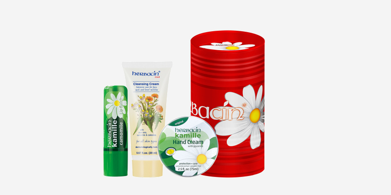 herbacin德国小洋甘菊随手桶礼盒唇膏洁面护手霜套装